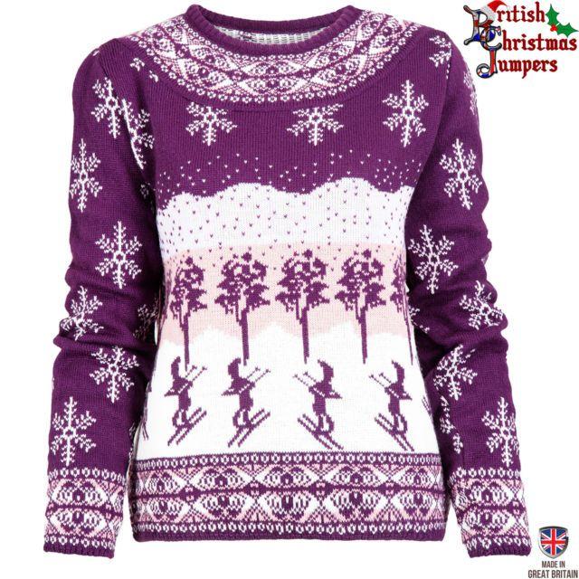 Apres Ski- Purple and White Womens Christmas Jumper Sweater ...