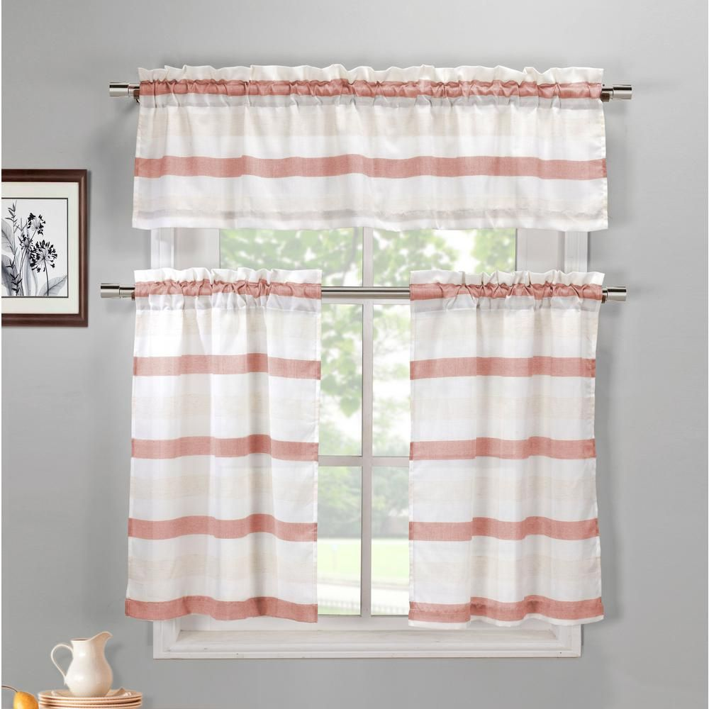 Duck River Akua Coffee Linen Kitchen Curtain Set 58 In W X 15