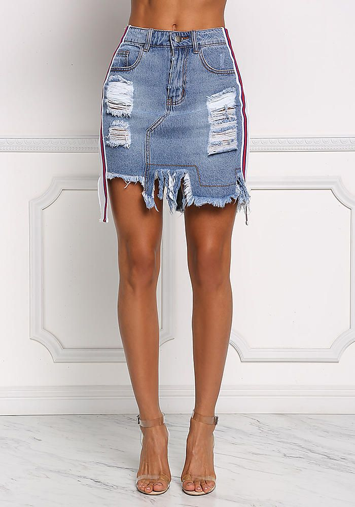 63dece443c Denim Side Stripe Distressed Skirt - New | Style in 2019 | Denim ...