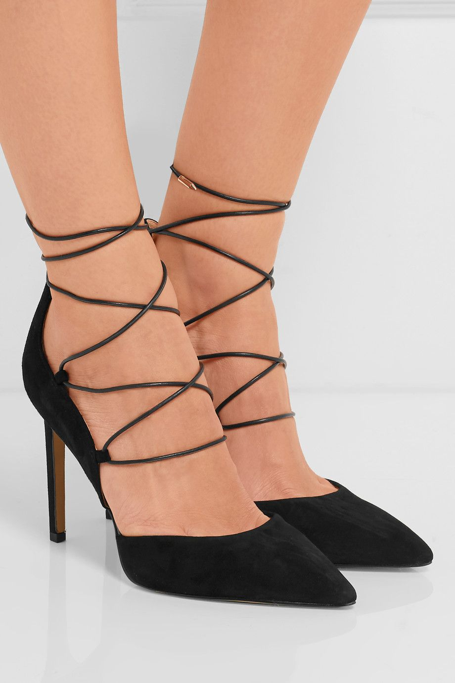 Heel measures approximately 95mm/ 4 inches Black suede Ties at ankle Imported