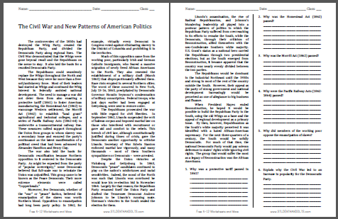 Photo of Civil War and New Patterns of American Politics Reading with Questions