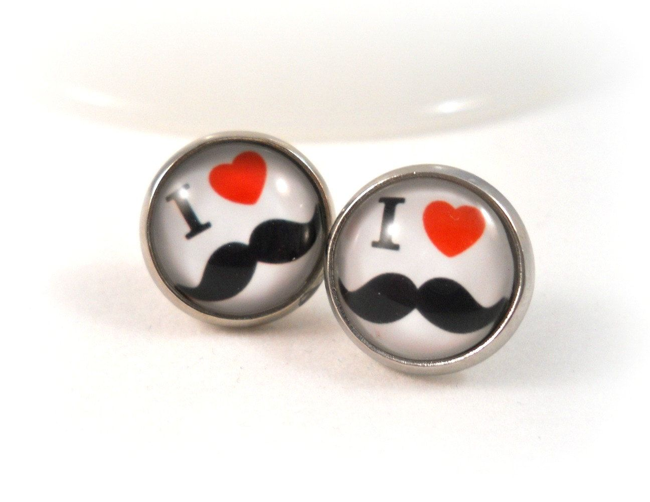 Mustache Earring Black White Red I Heart Earrings For S Tweens