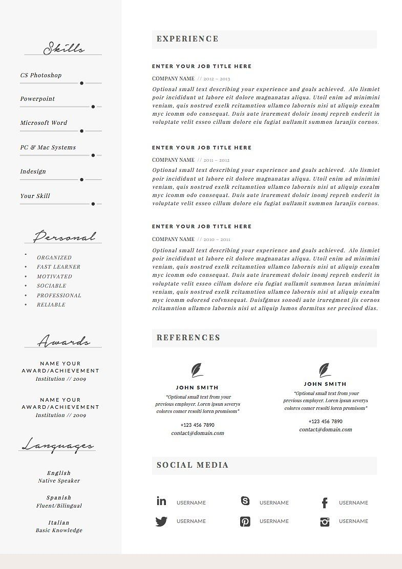 Resume Template 4 pages Charming Resume template