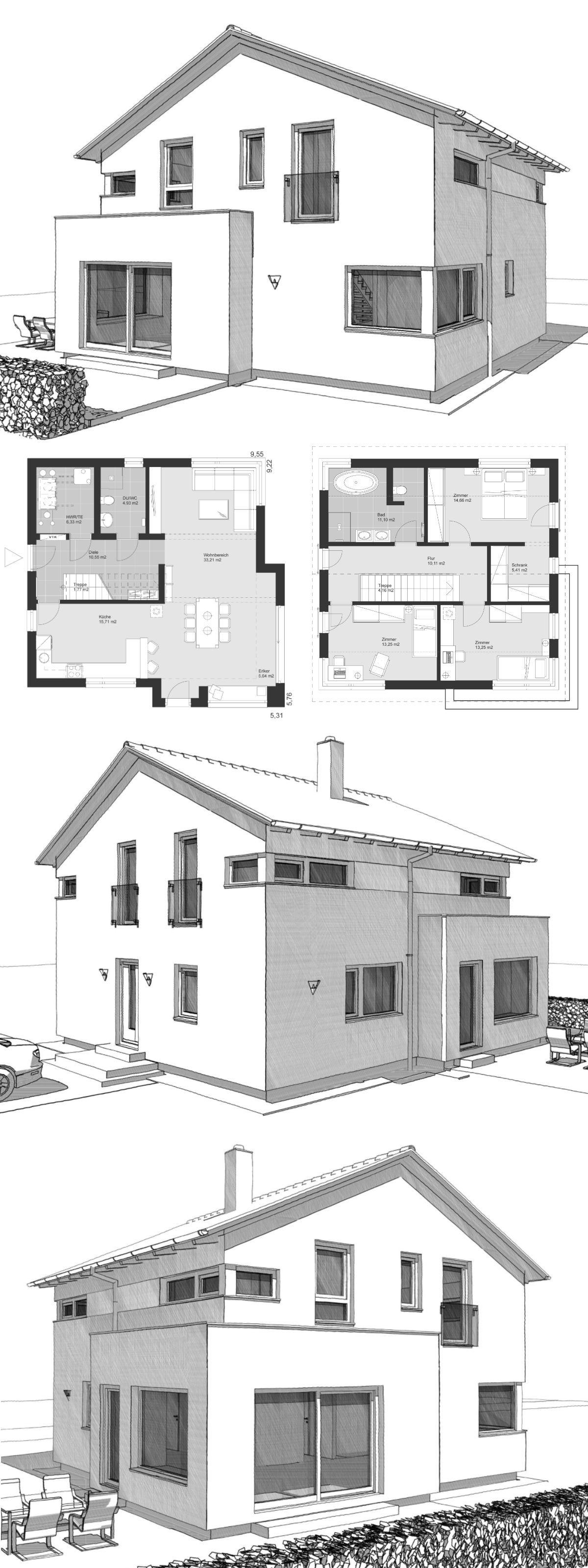 Modernes einfamilienhaus im landhausstil grundriss for Modernes einfamilienhaus grundriss
