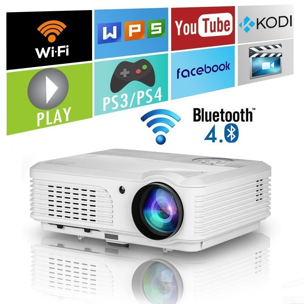 Wireless Bluetooth HD Projector 3200 Lumen Android 4.4 LCD Image ...