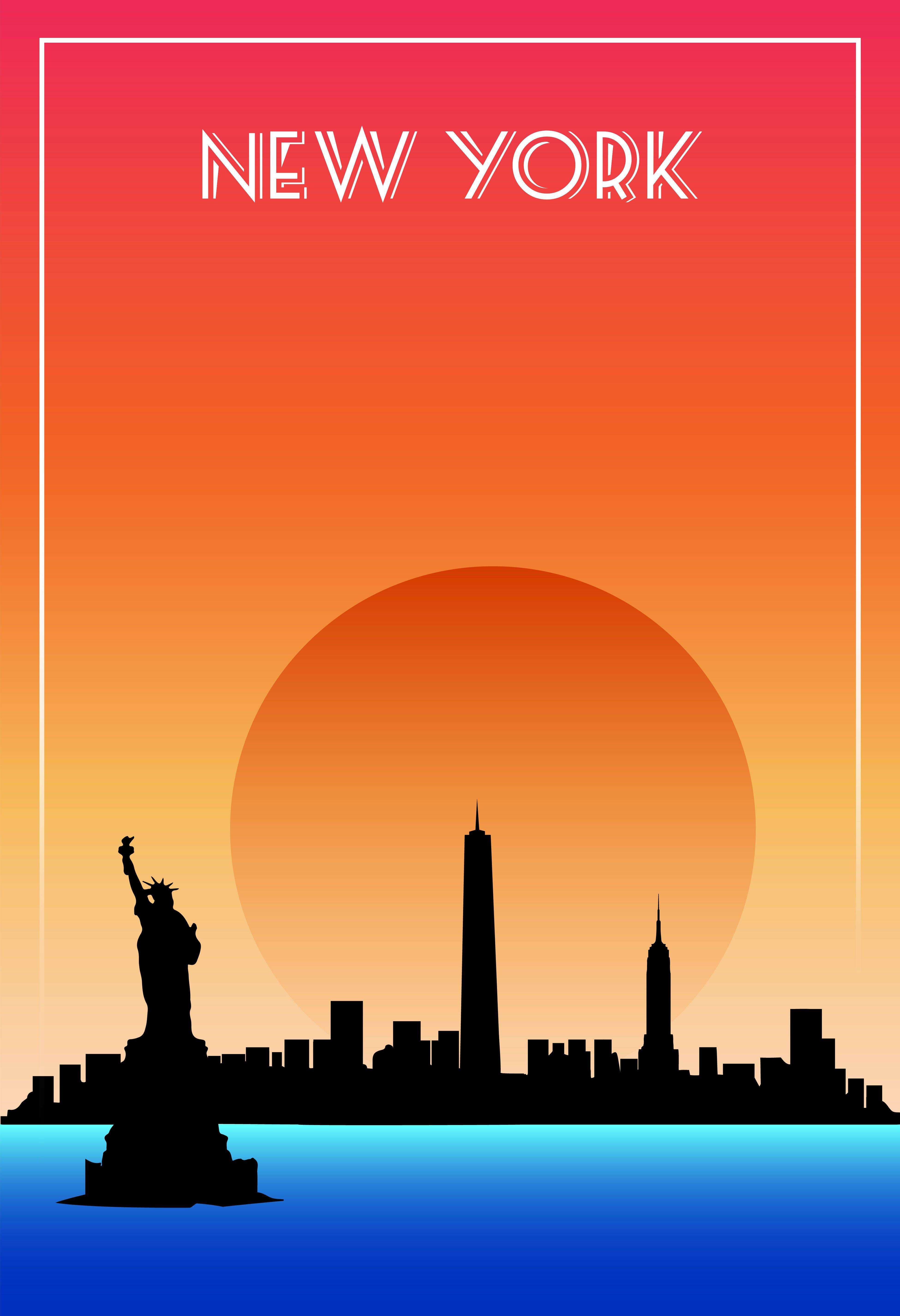 Poster design using illustrator - Poster Design Inspired On Sunrise New York City Using Gradients Techniques On Illustrator For