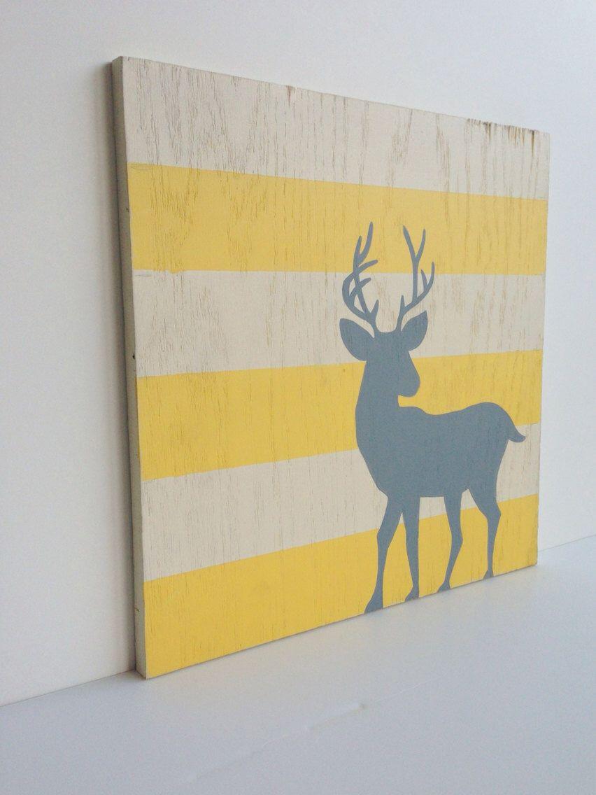 Woodland Nursery Art, Yellow and Gray Nursery decor, Deer Wall Art ...