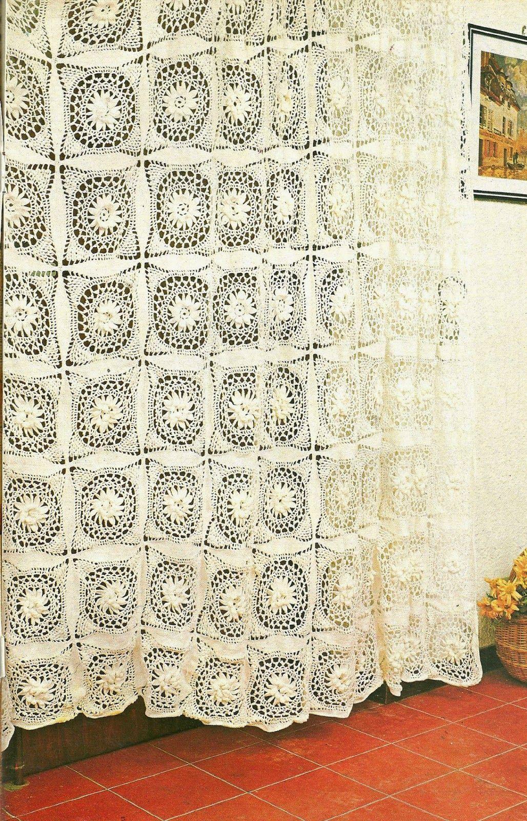 tejidos artesanales: cortina con motivos de flores en relieve ...
