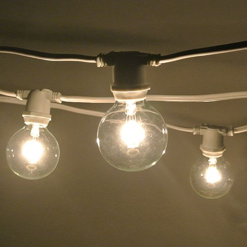 Light Bulbs On A String Magnificent 100 Ft White Commercial C9 String Light With G50 Clear Bulbs Order Decorating Design