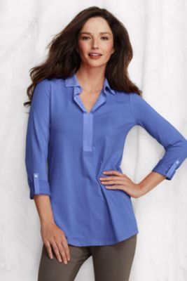 49af12831a25f Women s 3 4-sleeve Lightweight Cotton Modal Johnny Collar Tunic from Lands   End