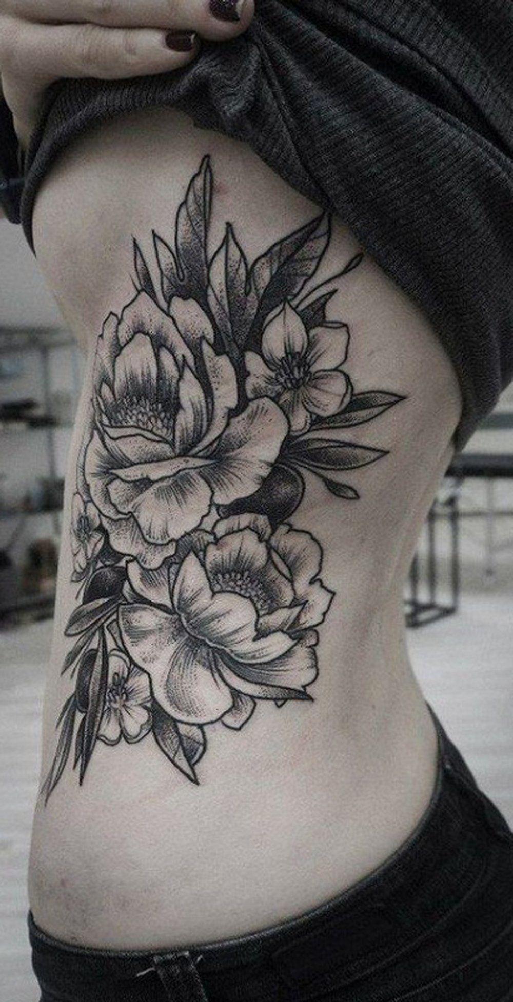 Wild Rose Rib Tattoo Ideas For Women Floral Flower Side Tatt