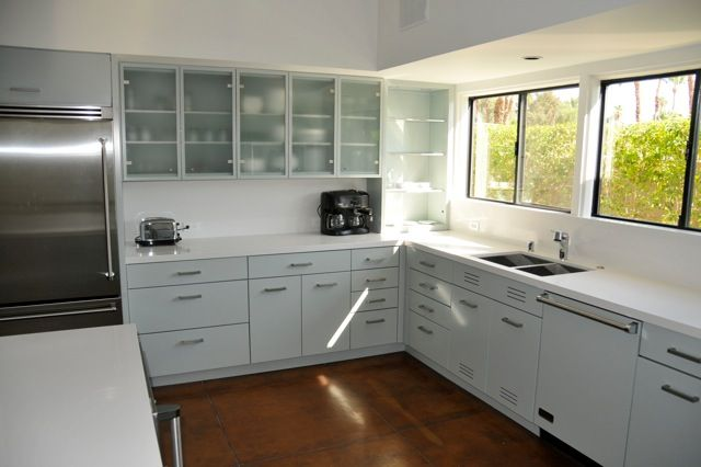 After Kitchen With St Charles Steel Base Cabinets In Sea Gl And Frosted Wall