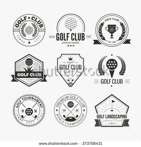 Set of golf club logo templates. Hipster sport labels with