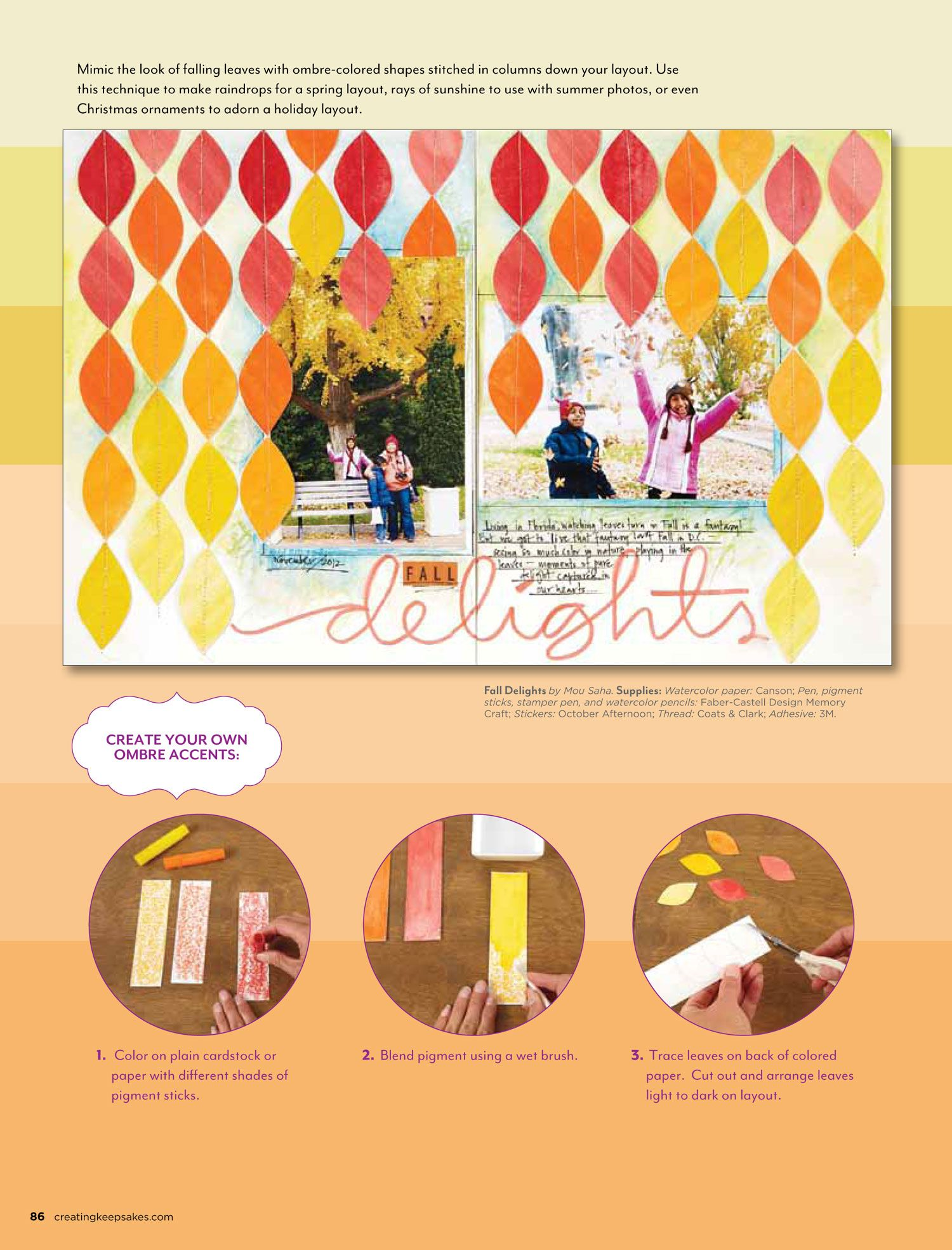 Scrapbook How To: Create Ombre Accents. Fall Delights layout by Mou Saha, created for the September/October 2013 issue of Creating Keepsakes magazine.  http://www.creatingkeepsakes.com/issues/index.html?current_issue
