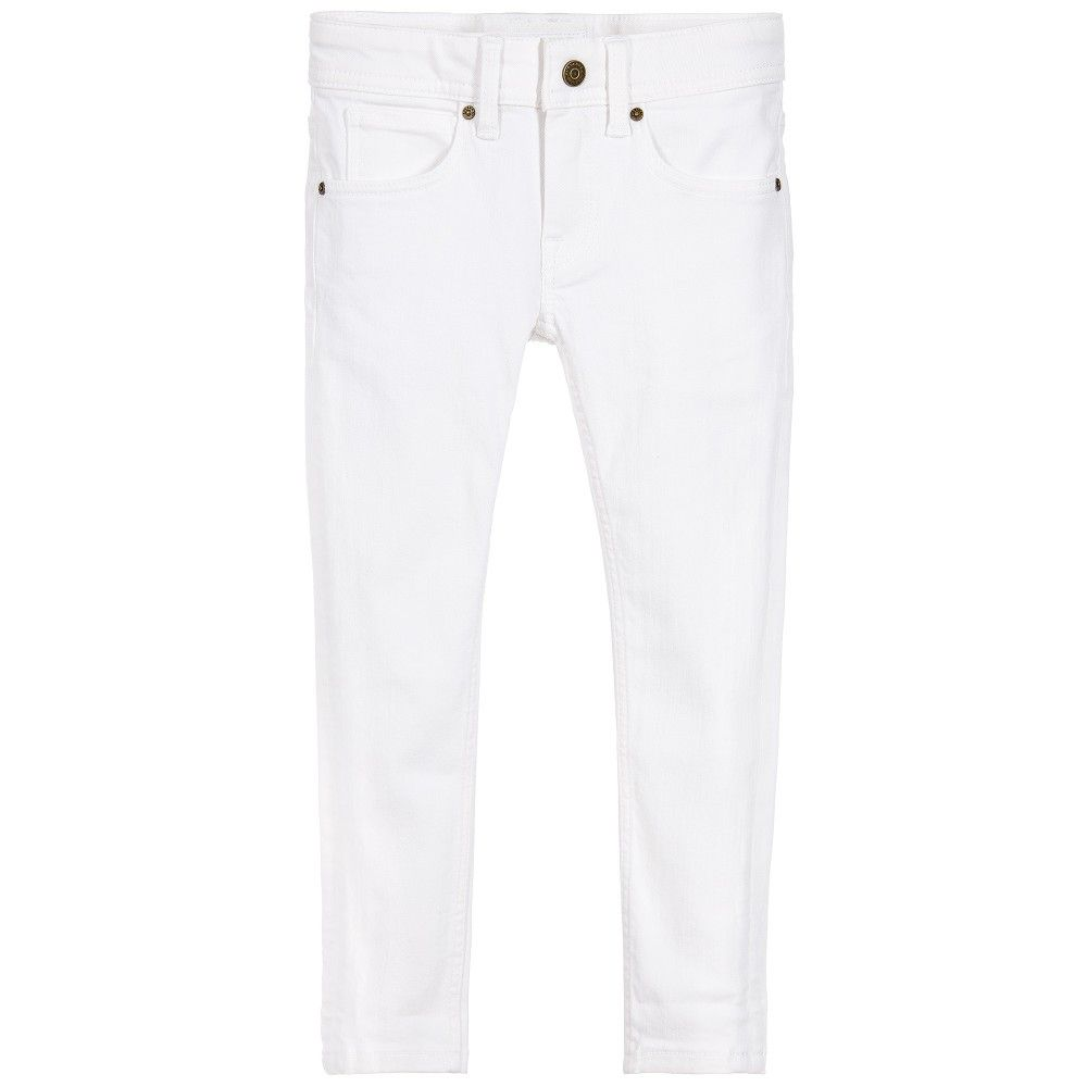 23fad985f0d3af BURBERRY Girls White Stretch Cotton Skinny Fit Jeans | Burberry Kids ...