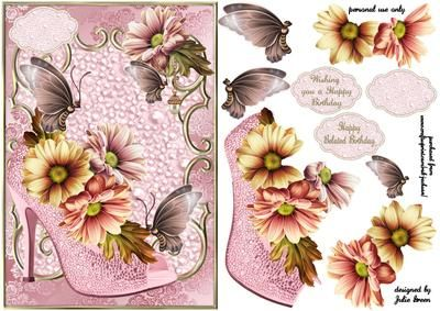 A shoe full of blooms by Julie Green This is a beautiful card front that will bring a smile to anyones face. Shoes and flowers what more could a girl want. Suitable for Birthday and belated birthday