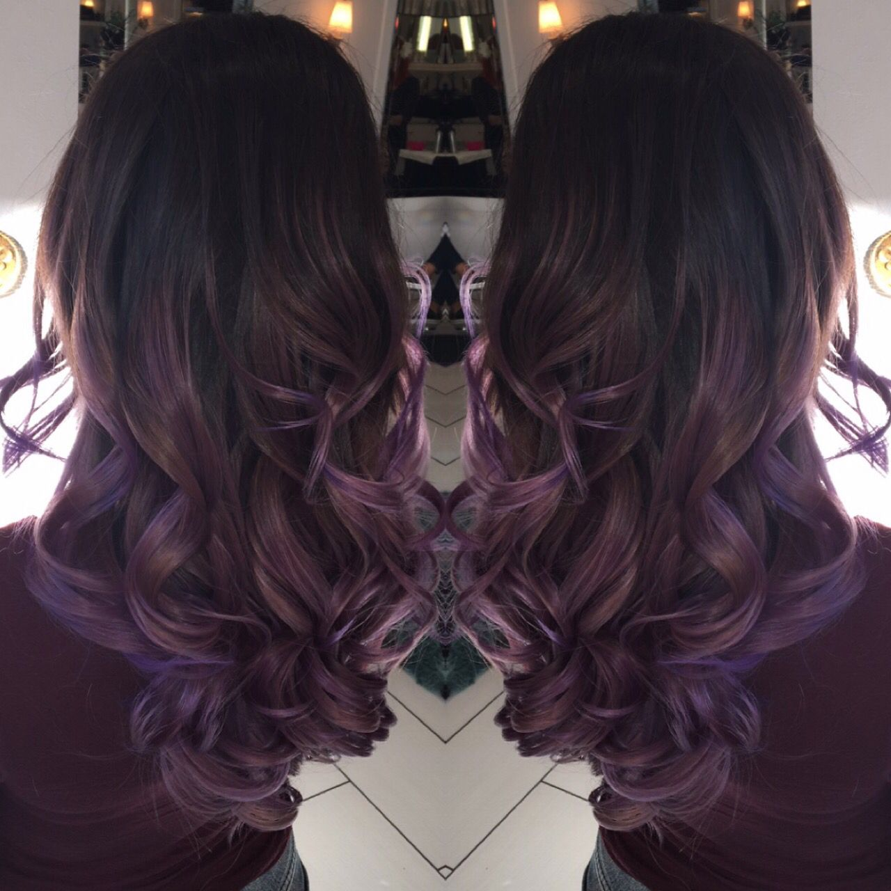 Silver Ombre silver hair grey hair Balayage violet purple ...