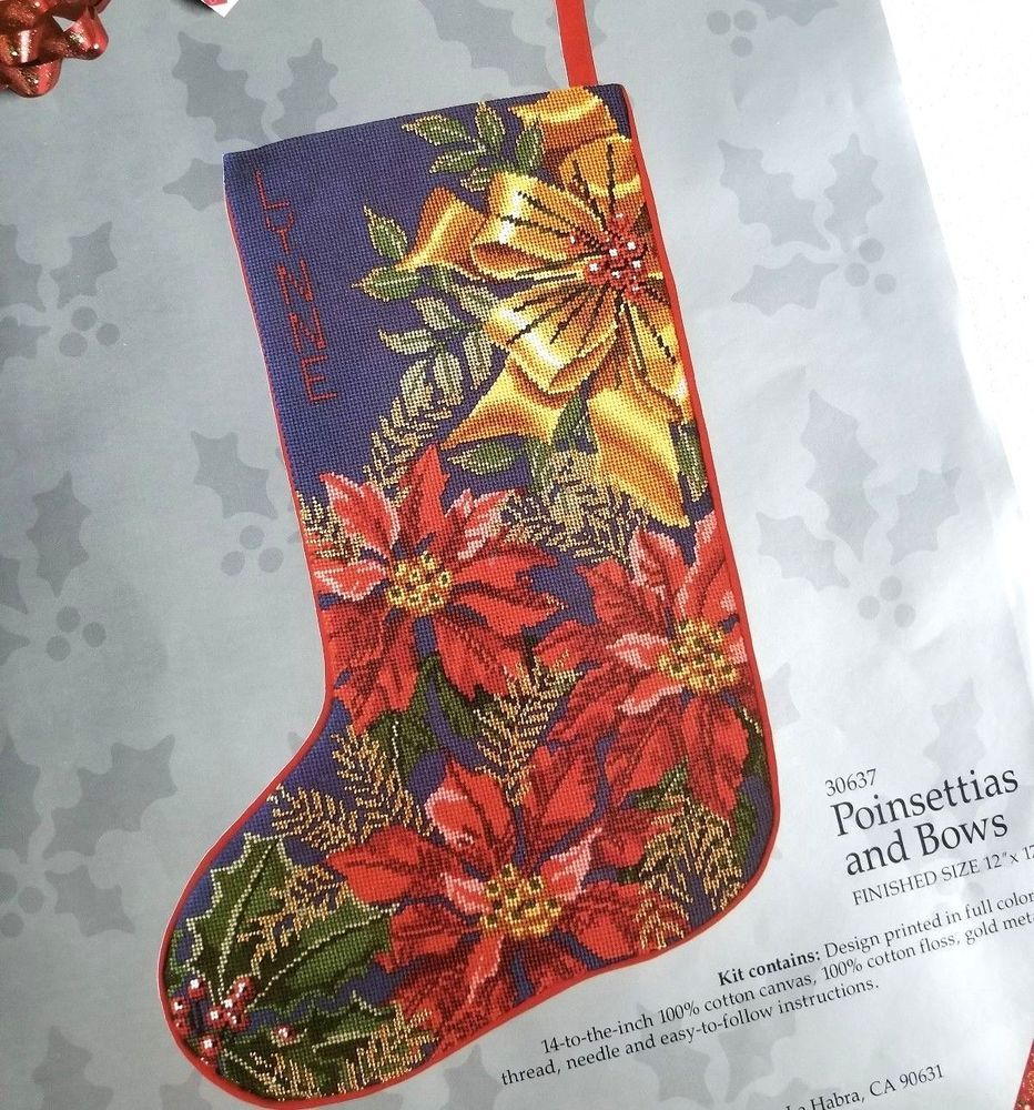 Poinsettias and Bows Needlepoint Christmas Stocking Canvas