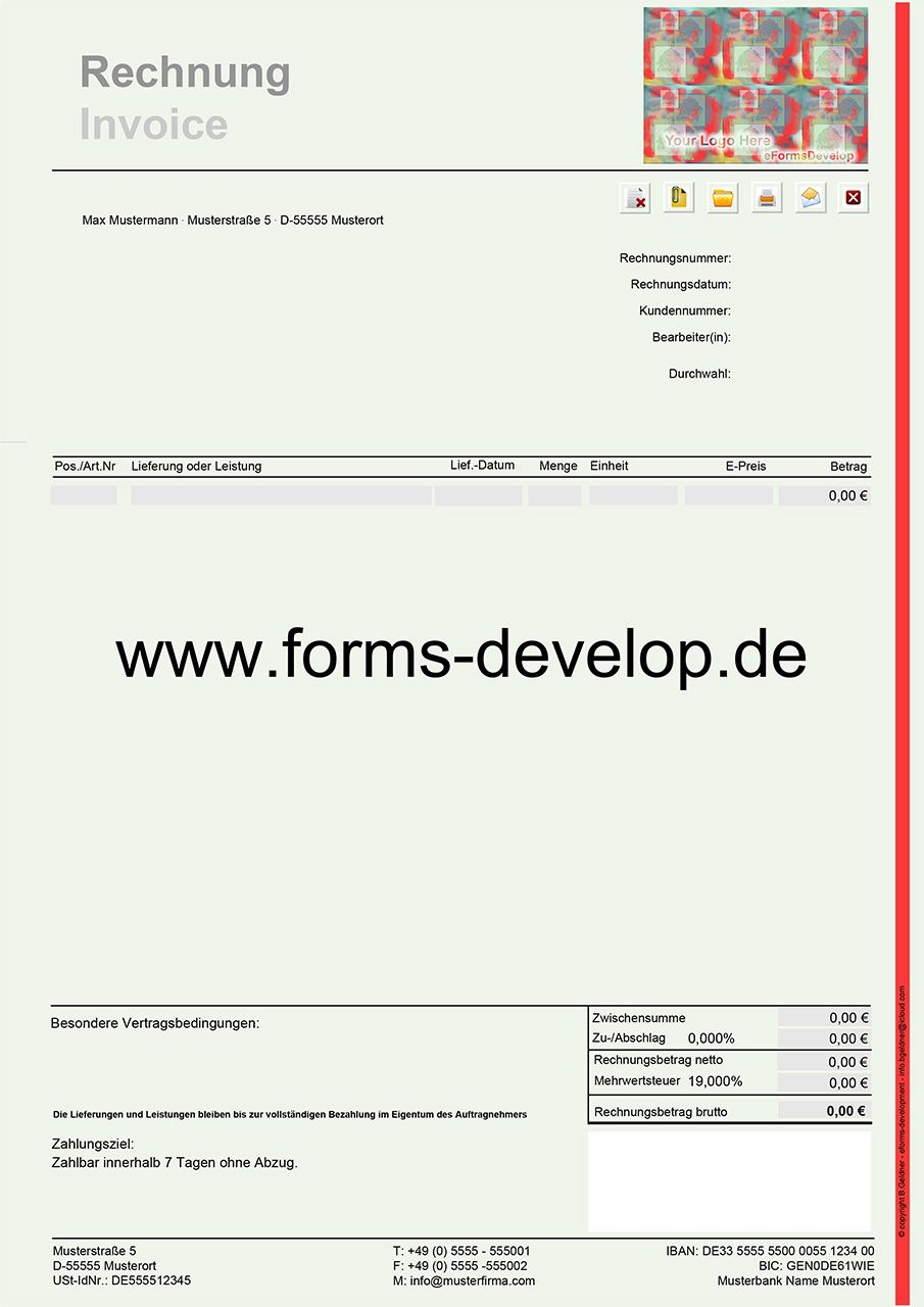 pdf formular rechnungen menge einheit x einzelpreis. Black Bedroom Furniture Sets. Home Design Ideas