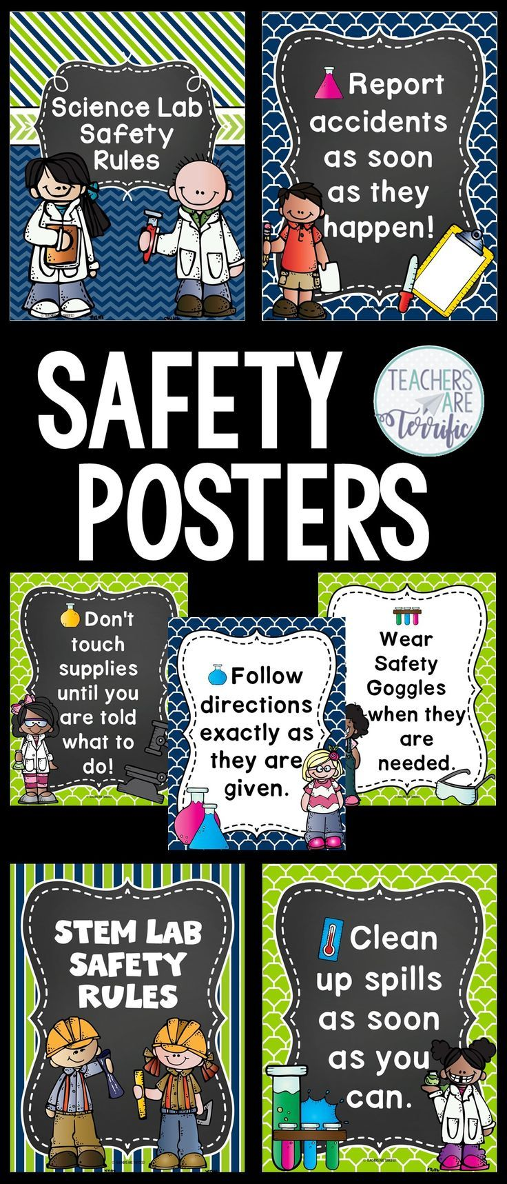 Science Safety Rules Posters in Lime and Navy Science