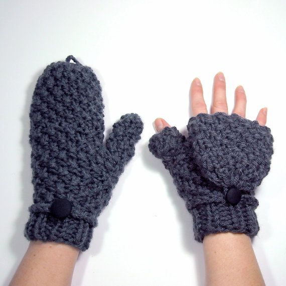 Mittens that Convert to Fingerless Gloves, Gray Glittens | Guantes