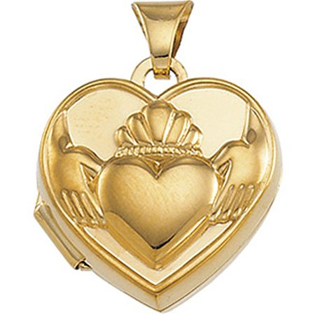 14k Yellow Gold Polished And Beaded Claddagh Symbol Heart Shaped Pendant