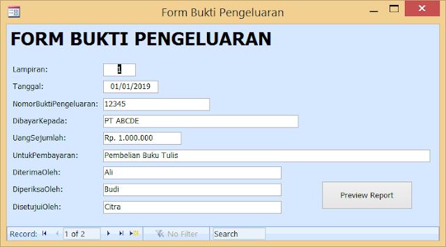 Form Bukti Pengeluaran Versi Microsoft Access Tanggal Aplikasi