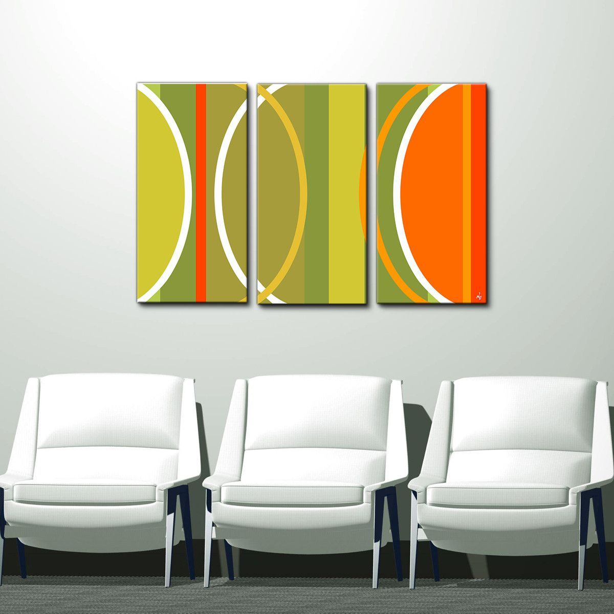 Geometric Study II-B\' 24x36-inch Canvas Wall Art (3-Pc Set) | PC ...