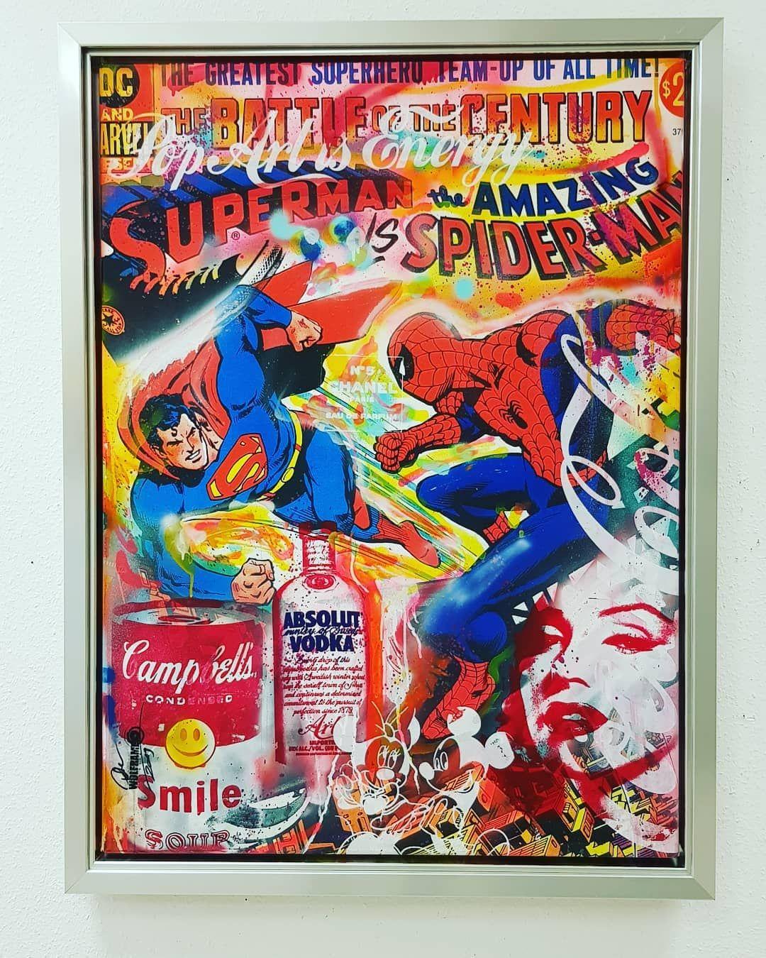 Guldenstern Köln Wolfram Rockart ,Superman meets Spiderman .....hier Rahmung in einem 5 cm hohen Dippelrahmen hinter unsichtbarem…