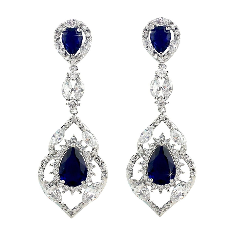 Wedding Teardrop Dangle Earrings Silver Tone Vintage Chandelier Zircon Blue Ch12gyaq32j Drop