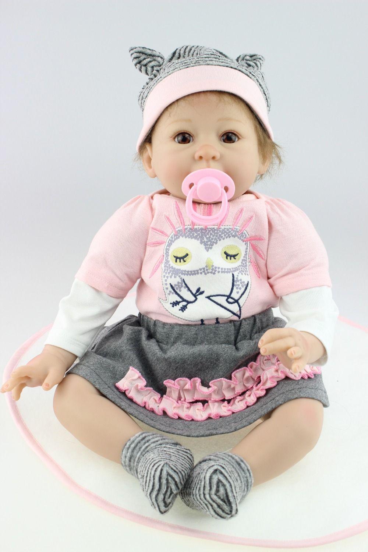 22inch Lovely Handmade Lifelike Newborn Silicone Vinyl Reborn Baby Doll Gift Hot