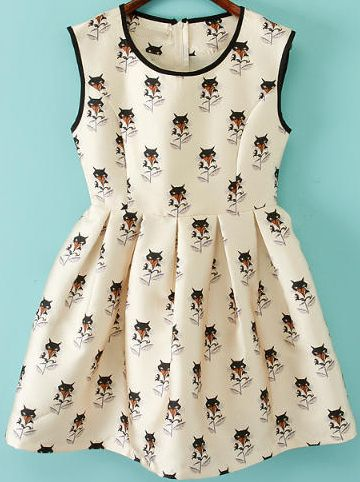Shop Apricot Sleeveless Fox Print Flare Dress online. Sheinside offers Apricot Sleeveless Fox Print Flare Dress & more to fit your fashionable needs. Free Shipping Worldwide!