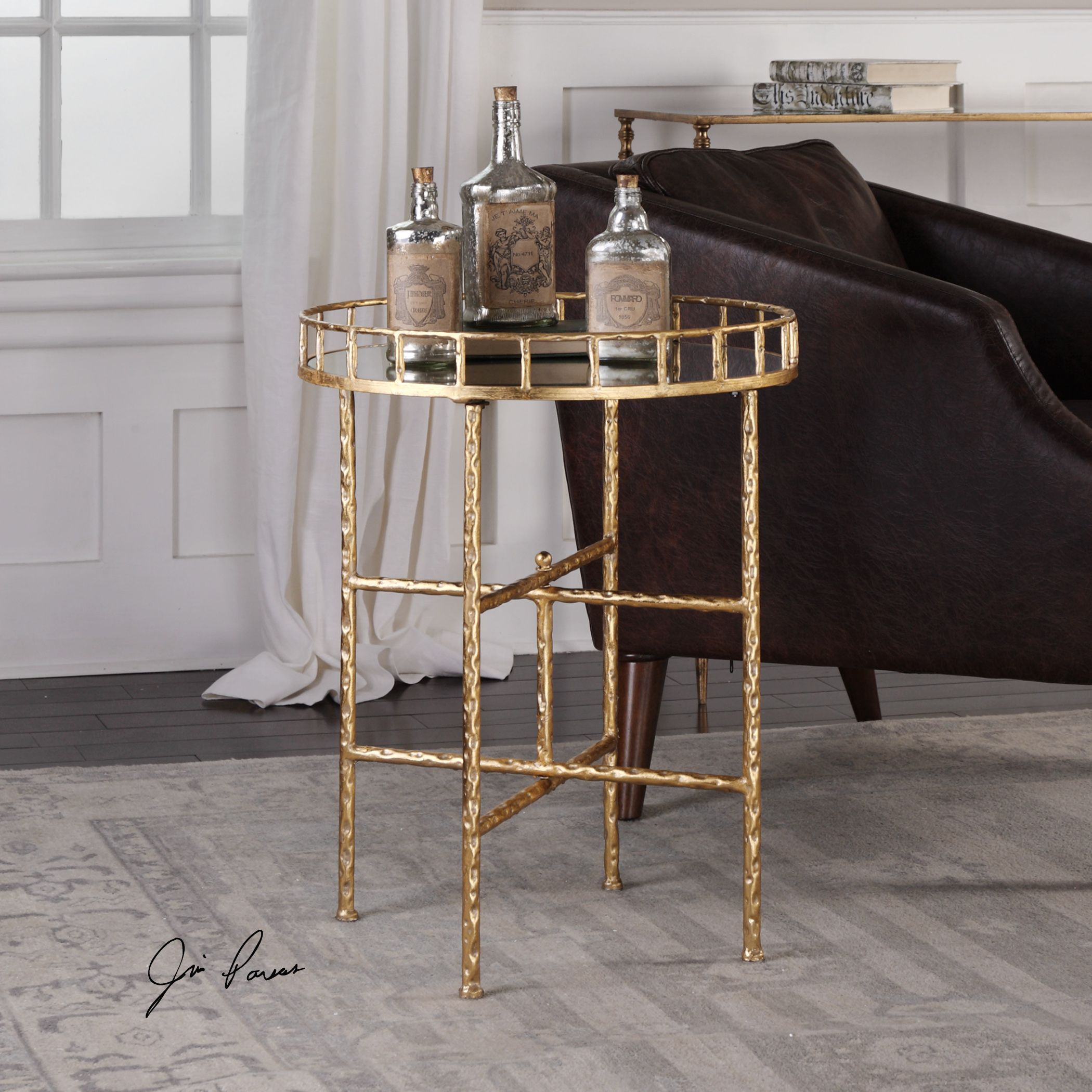 Uttermost tilly bright gold accent table accent table