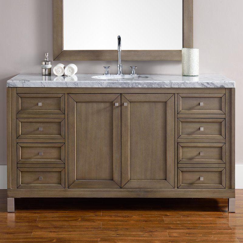 Valladares 60 Single White Washed Walnut Solid Wood Base Bathroom