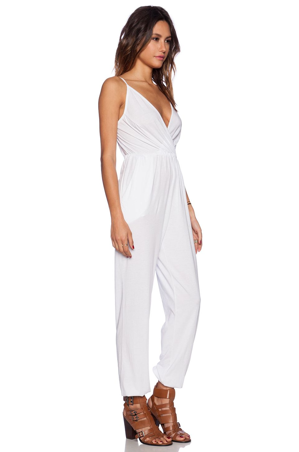 00cd7bc4251 Bobi Modal Jersey Drape Front Jumpsuit in White