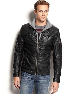 Buffalo David Bitton Hooded Faux Leather Jacket Faux Leather Jackets Hooded Faux Leather Jacket