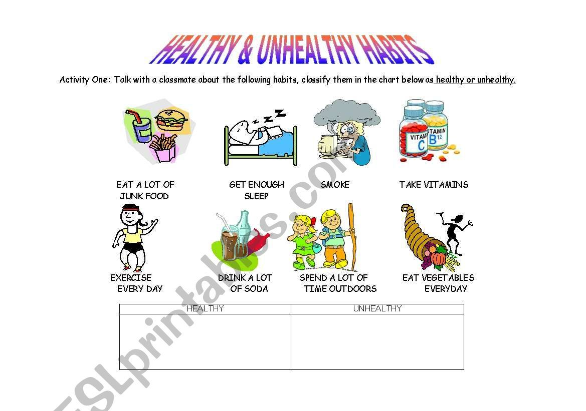 Here Are Two Worksheets For Discussing Healthy And