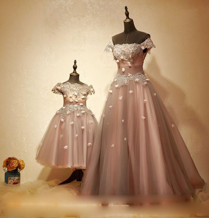 UK Mother and Daughter Tutu Dress Elegant Evening Party Wedding Dresses Princess