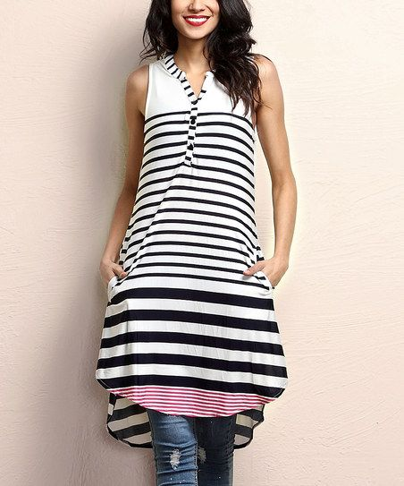 Reborn Collection Navy & Red Stripe Sleeveless Button-Up Tunic | zulily