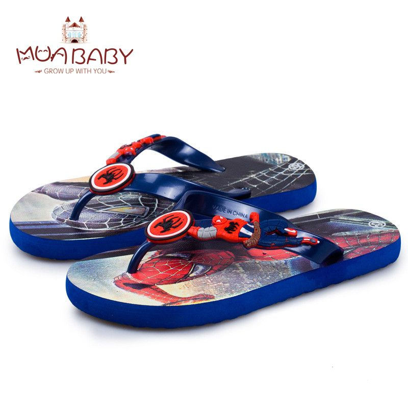 6485c2c0494dd Children s sandals summer cartoon boys beach Slippers sandals kids fashion  shoes Spider man Captain America flip