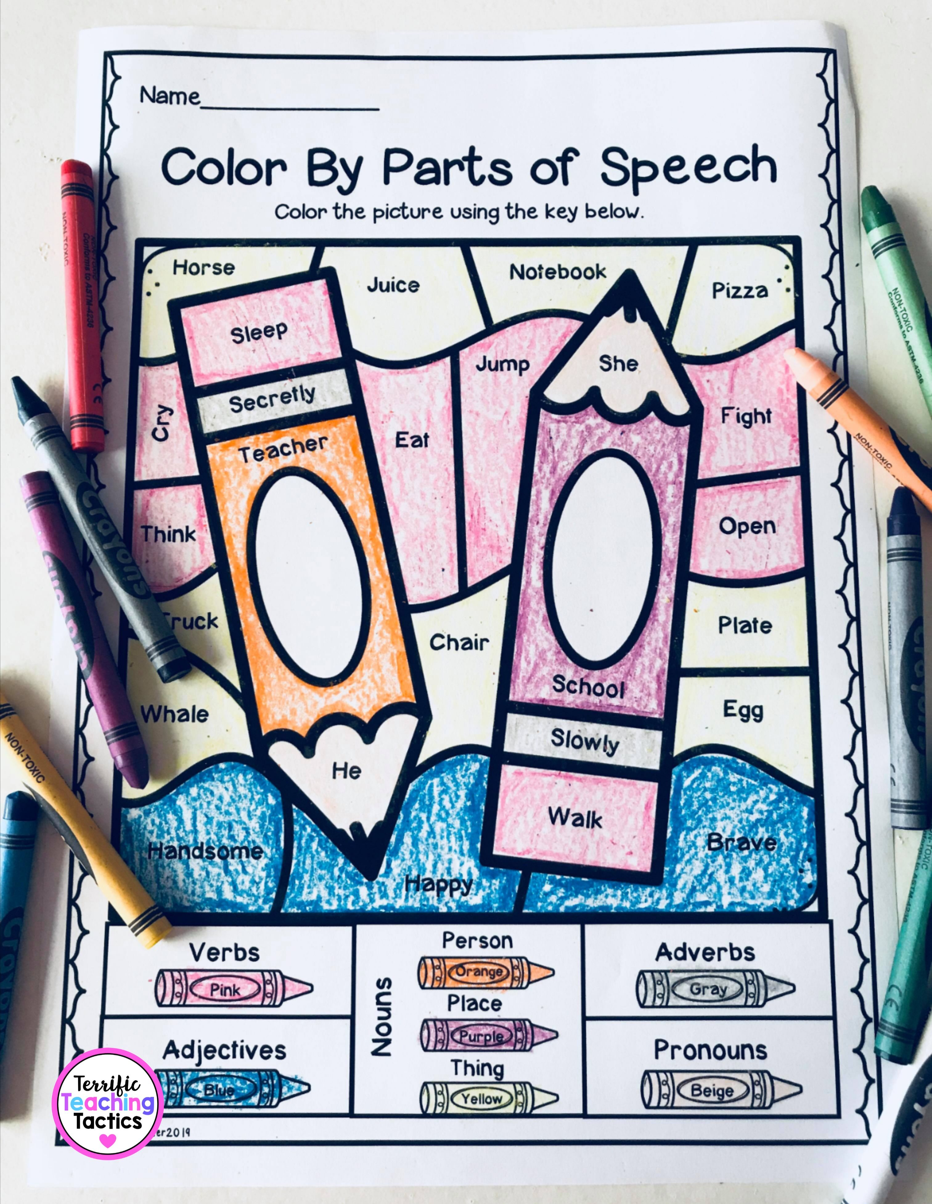 Color By Parts Of Speech Grammar Worksheets In