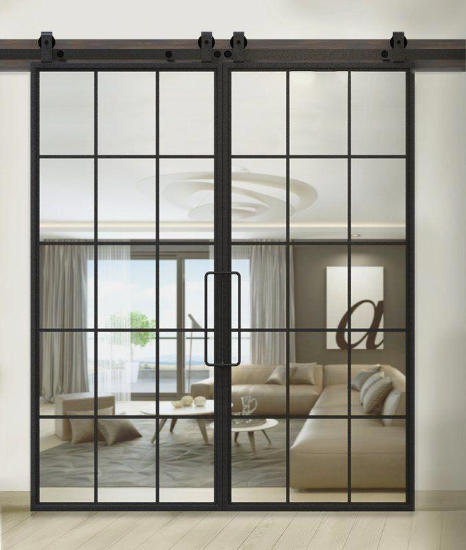 Doppelschiebetür LOFT FRENCH Stahl Glas Blech Industrial-Hygge-LoftMarkt