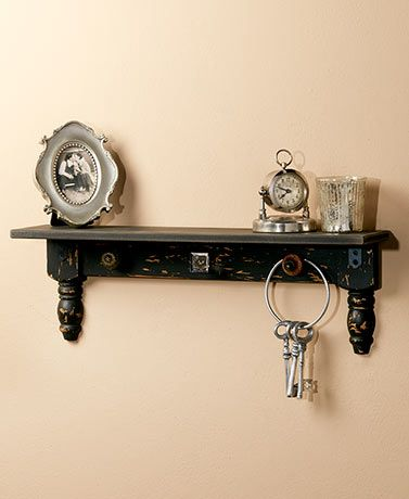 Vintage Distressed Wall Shelf with Hooks Black NEW