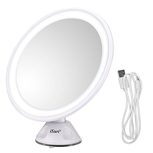 Lighted Makeup Mirror Isuri Rechargeable Led 7x Magnifying Lighted Makeup Cosmetic Mirror With Powerf Makeup Mirror Makeup Mirror With Lights Led Makeup Mirror