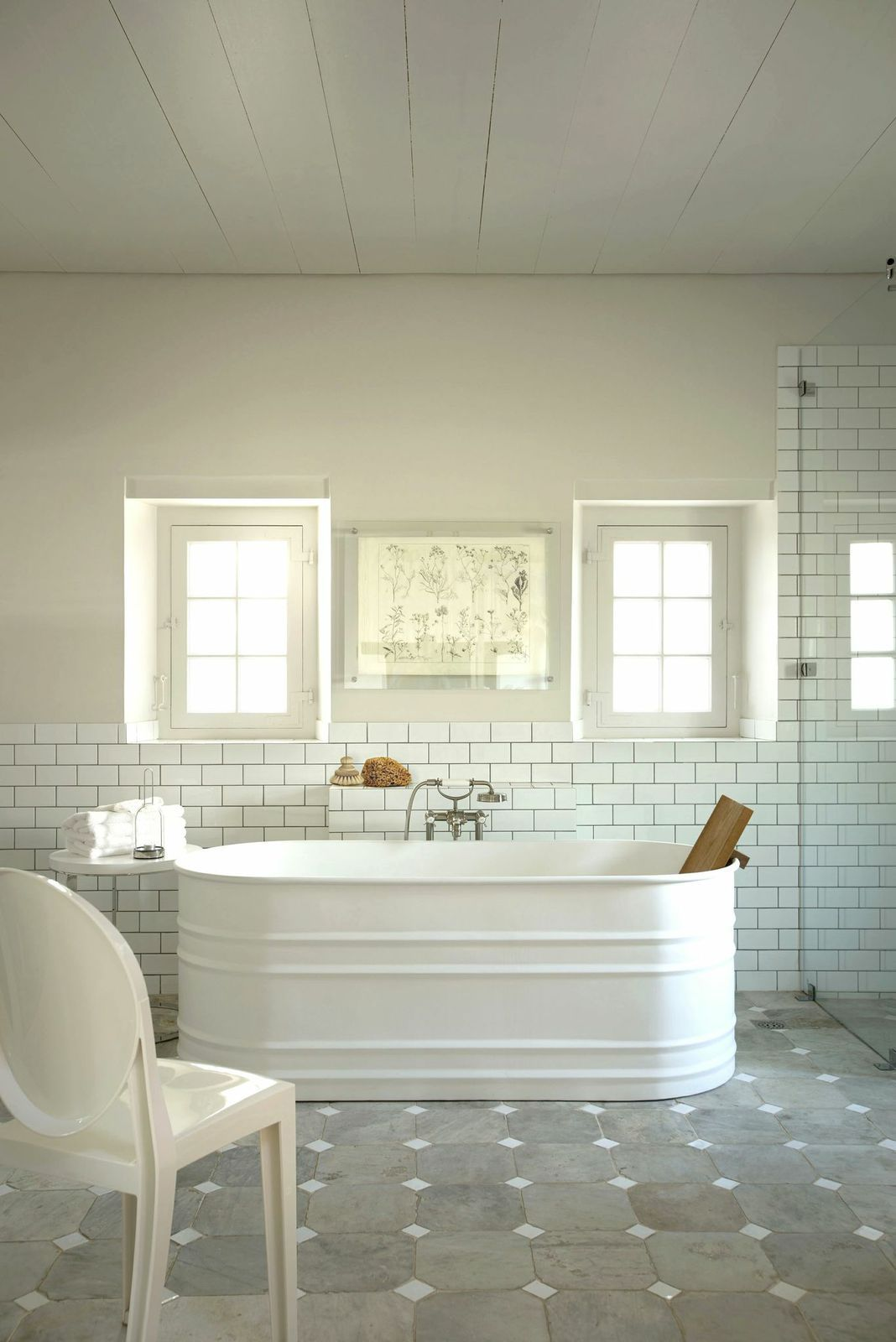 white bath } who would think a stock tank could look so classy ...