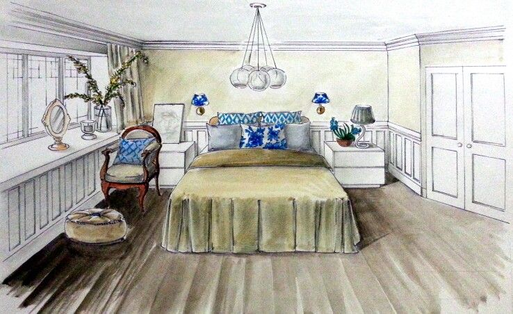 Interior Design Bedroom Sketches airy french bedroom design idea | interior design | pinterest