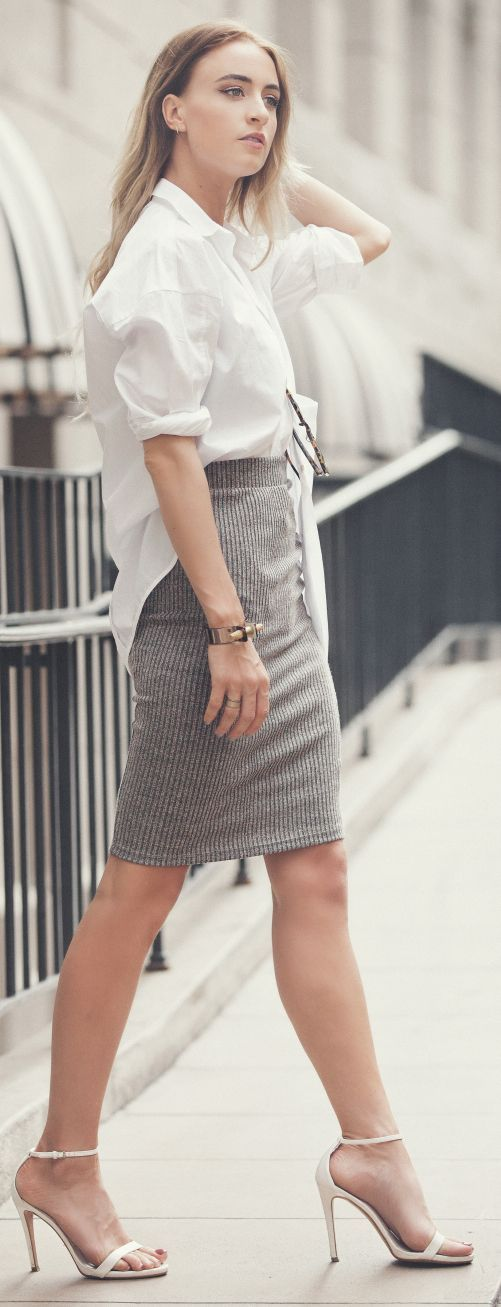 Fall / Winter - office wear - work outfit - oversized white shirt ...