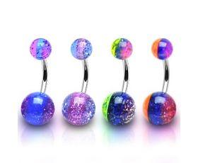flexi PREGNANCY maternity New BELLY BAR crystal duo ball aqua  crystal gem
