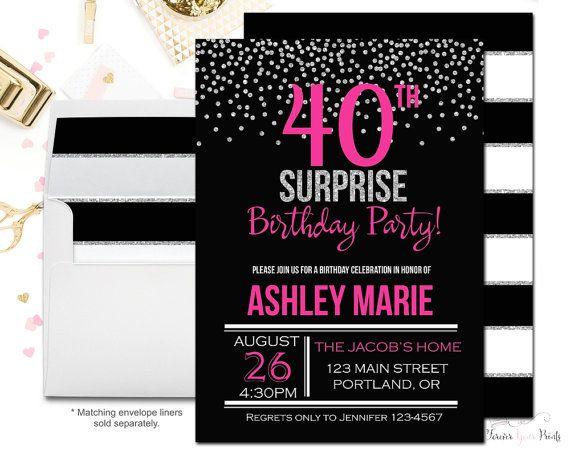 HOT PINK 40th Birthday Invitation 40th Surprise Birthday – 30th Surprise Party Invitations