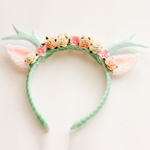 439c52819663c Mint Floral Deer Headband made out of polymer clay